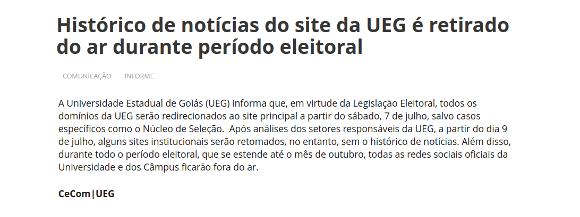 Histórico de notícias do site da UEG é retirado do ar durante período eleitoral